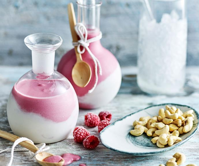 "**[Creamy coconut and raspberry smoothie](https://www.womensweeklyfood.com.au/recipes/coconut-smoothie-recipe-28536|target=""_blank"")**  This raspberry smoothie recipe uses blended cashews and coconut to create a delicious creamy consistency without any dairy in sight!"