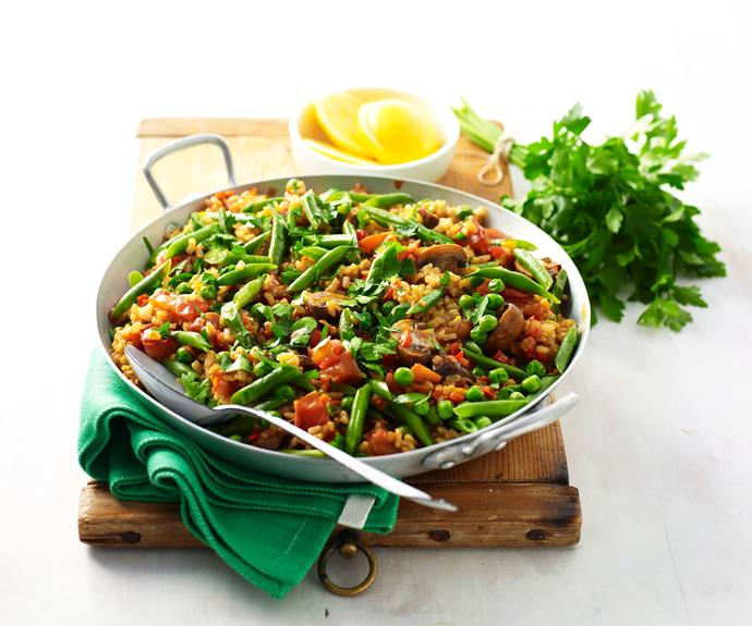 "**[Vegetarian paella](https://www.womensweeklyfood.com.au/recipes/vegetarian-paella-12332|target=""_blank"")**  A traditional dish from Andalusia, paella is usually associated with seafood, not surprising when you consider the ancient fishing traditions of the area, chicken and chorizo. This vegetarian version manages to pack in loads of flavour without the meat."
