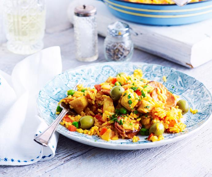 "This [slow cooker paella](https://www.womensweeklyfood.com.au/recipes/chicken-and-chorizo-paella-14467|target=""_blank"") recipe takes this delicious Valencian dish and gives it the benefit of modern convenience."