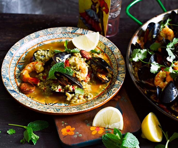 "This [seafood paella recipe](https://www.womensweeklyfood.com.au/recipes/seafood-paella-23953|target=""_blank"") is loaded with traditional Spanish flavours of chorizo and seafood, served in a deliciously spiced rice broth."