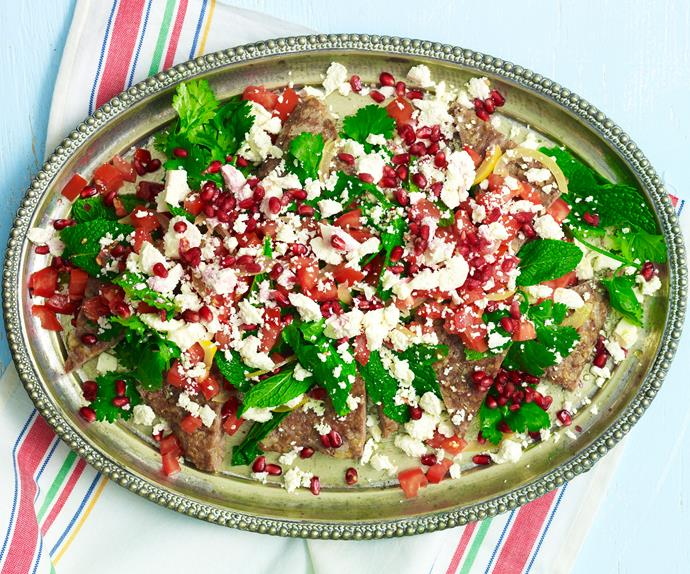 kibbeh with tomato and pomegranate salad