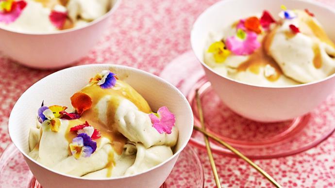 Banana nice cream recipe with coconut and rosemary