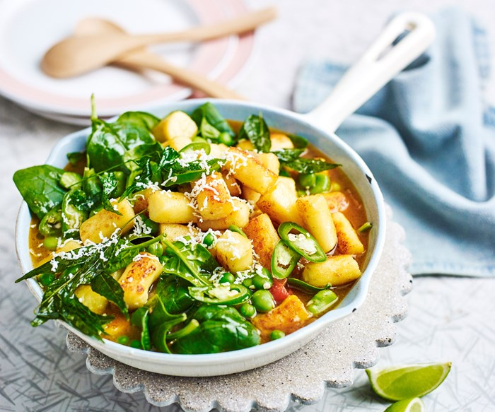 Indian style gnocchi recipe with green veg masala curry