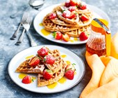 Gluten-free buckwheat waffles with golden syrup