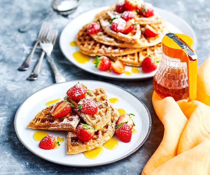 "The stunning [buckwheat waffles with golden syrup](https://www.womensweeklyfood.com.au/recipes/gluten-free-waffles-30949|target=""_blank"") are both gluten- and dairy-free for an indulgent Valentine's Day treat that won't upset tummies. If you don't have a waffle iron a jaffle iron will do just as well."