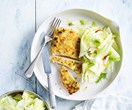 Almond-crumbed chicken schnitzel with fennel & nashi salad