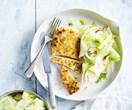 Almond-crumbed chicken schnitzel with fennel & nashi salad