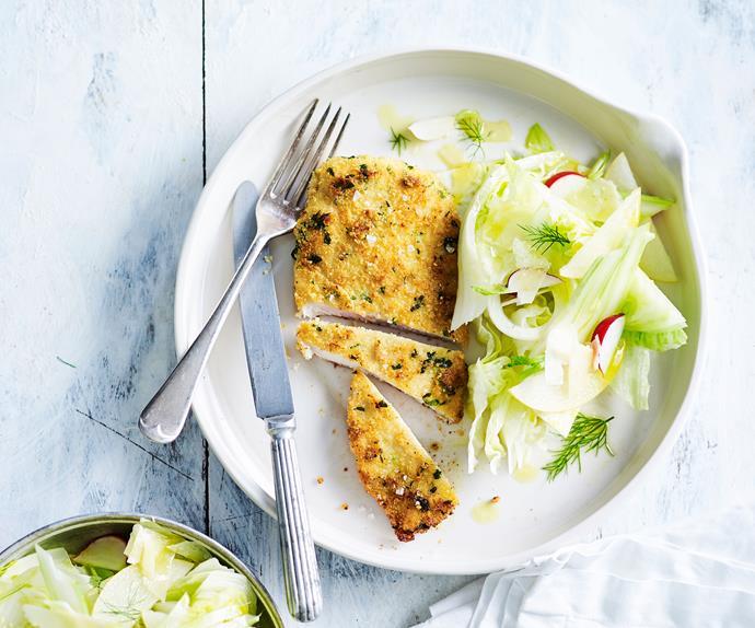 Almond-crumbed chicken schnitzel recipe