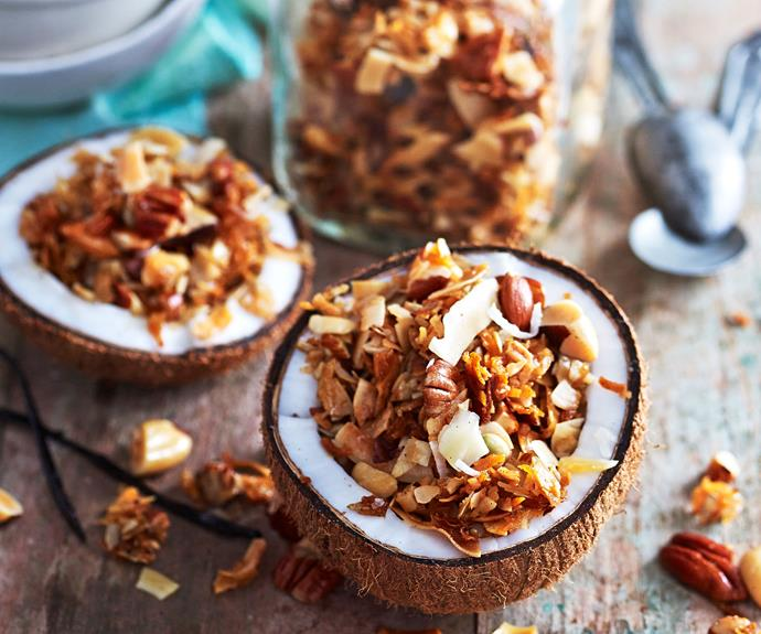 "This [grain-free coconut granola](https://www.womensweeklyfood.com.au/recipes/grain-free-granola-recipe-30953|target=""_blank"") is a delicious, slightly sweet mix of roasted nuts and and seeds. Perfect for followers of paleo and low-carb diets."