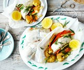 Healthy steamed fish and vegetable parcels