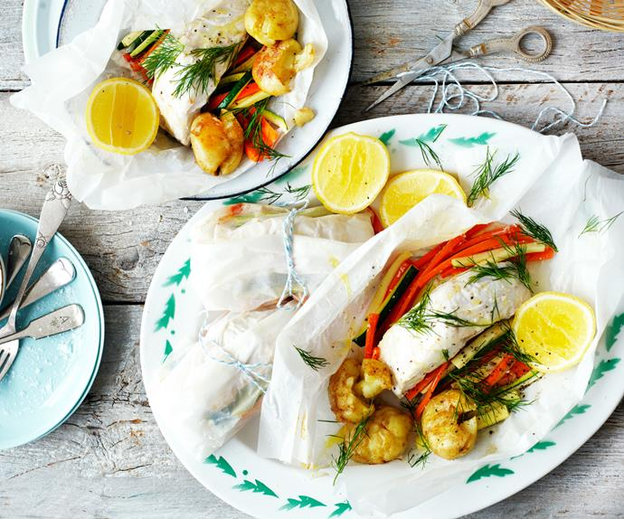 steamed fish and vegetable parcels