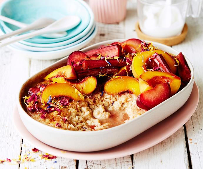 baked oats recipe with stone fruit and rhubarb