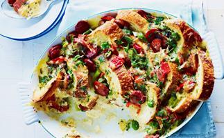 chorizo, capsicum and green olive savoury bread pudding