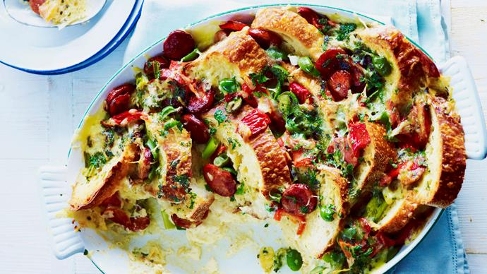 chorizo, capsicum and green olive savoury bread pudding