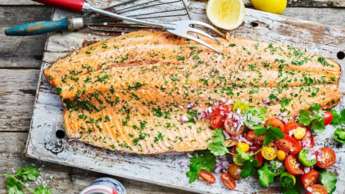 BARBECUED SALMON WITH SALSA CRIOLLA