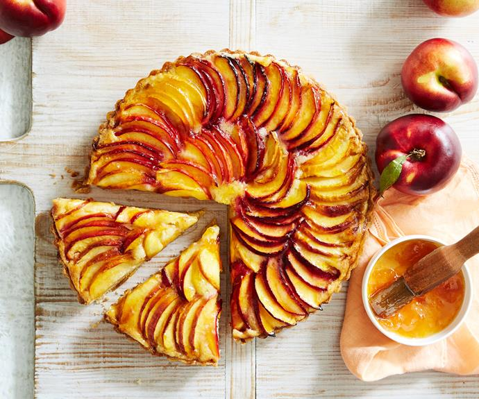 "**[Nectarine and almond tart](https://www.womensweeklyfood.com.au/recipes/nectarine-and-almond-tart-9285|target=""_blank"")**  Inspired by the classic French frangipane tart, the almond-filling of this summery tart pairs deliciously with all sorts of summer stone fruit. Here we used nectarines, but peach, apricot or even plums would also do nicely."