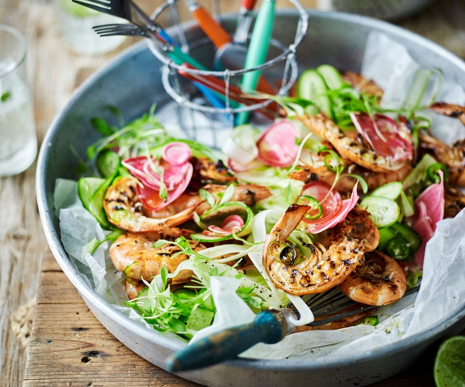 "**[Barbecued prawns with chilli lime dressing](https://www.womensweeklyfood.com.au/recipes/barbecued-prawns-with-chilli-lime-dressing-9829|target=""_blank"")** Use your fingers to dig in to these lip-smacking, spicy barbecued prawns."