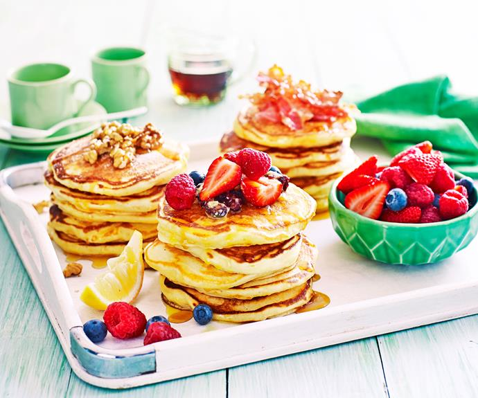 "**[How to make perfectly fluffy pancakes](https://www.womensweeklyfood.com.au/recipes/fluffy-pancakes-recipe-30971|target=""_blank"")**  The secret to light and fluffy pancakes is all in the whisking. Follow our simple steps and choose your toppings for the perfect café style breakfast."