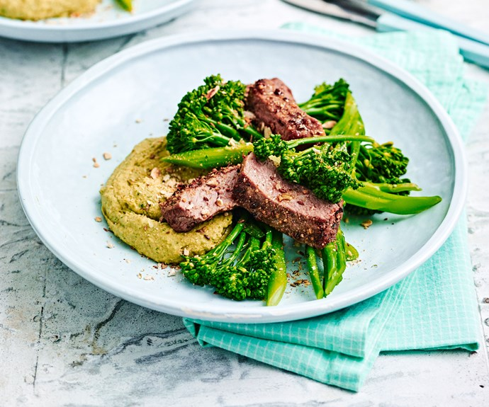 Cumin-spiced steak with white bean hummus