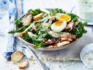 Chicken, asparagus and kale caesar