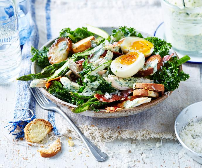 "A cracking [chicken, asparagus and kale caesar](https://www.womensweeklyfood.com.au/recipes/kale-caesar-salad-recipe-30977|target=""_blank"") salad with a healthy twist!"