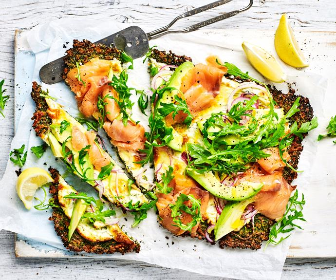 "**[Kale pizza with smoked salmon and avocado](https://www.womensweeklyfood.com.au/recipes/kale-pizza-crust-recipe-30984|target=""_blank"")**  A delicious low carb kale pizza crust recipe topped with smoked salmon and avocado, rich in protein and beneficial fats for a health-conscious spin."
