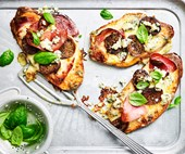 Sweet potato pizza with fig and pancetta