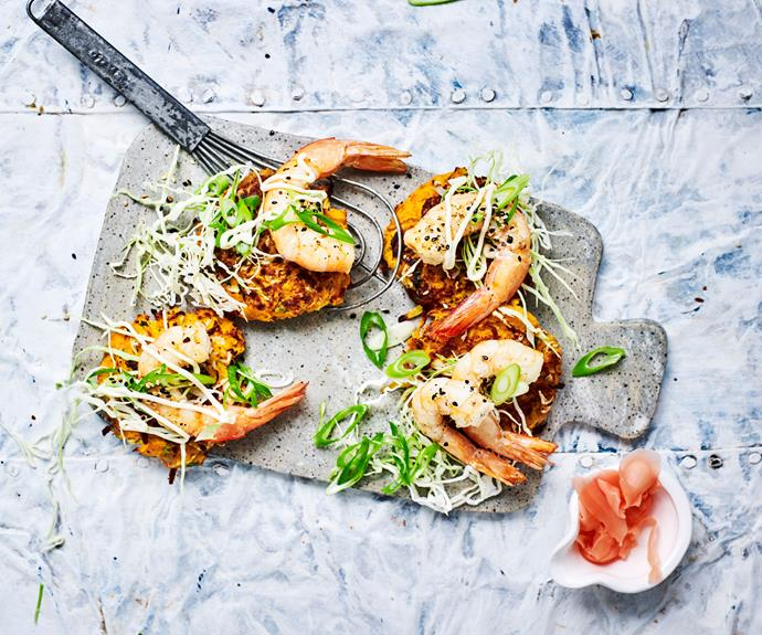 "**[Prawn and vegetable japanese hash browns](https://www.womensweeklyfood.com.au/recipes/japanese-hash-browns-recipe-30986|target=""_blank"")**  These modern Asian inspired hash browns are the best tasting yet"