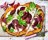 Beetroot, ricotta, & hazelnut tart with sweet potato pastry