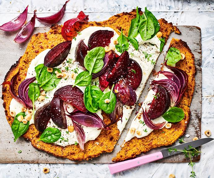 "**[Beetroot, ricotta, & hazelnut tart with sweet potato pastry](https://www.womensweeklyfood.com.au/recipes/sweet-potato-pastry-recipe-30991|target=""_blank"")**  Turn an alfresco lunch into a lavish occasion with this savoury rustic tart."