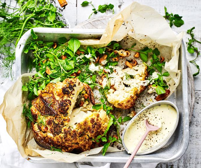 "**[Whole roasted cauliflower with creme fraiche dressing](https://www.womensweeklyfood.com.au/recipes/whole-cauliflower-recipe-30993|target=""_blank"")**  For a new take on the classic roast dinner - bake cauliflower whole with nuts and herbs then serve with a zingy creme fraiche dressing."