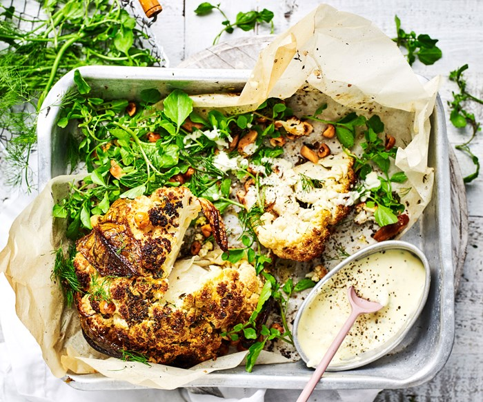 Whole cauliflower with creme fraiche dressing