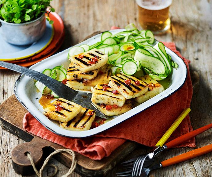"""**[Chilli barbecued haloumi recipe with zucchini salad](https://www.womensweeklyfood.com.au/recipes/barbecued-haloumi-recipe-30996