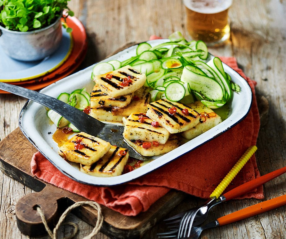 "Spice up your next outing with some **[chilli barbecued haloumi with zucchini salad](https://www.womensweeklyfood.com.au/recipes/barbecued-haloumi-recipe-30996|target=""_blank"")**."