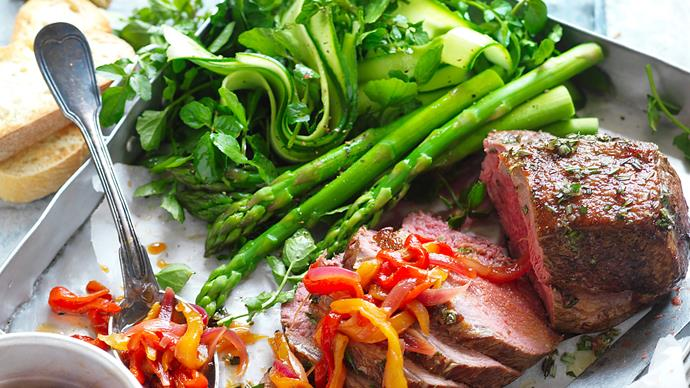 Roast veal with capsicum relish