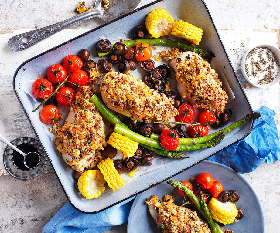 "**[Easy one-pan roast chicken breasts with vegies](https://www.womensweeklyfood.com.au/recipes/chicken-breast-recipe-31004|target=""_blank"")** - it's quick, simple and nutritious. What more could you want?"