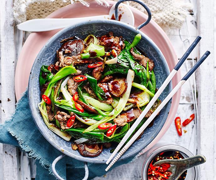 "**[Hoisin beef stir-fry](https://www.womensweeklyfood.com.au/recipes/hoisin-beef-stir-fry-recipe-31005|target=""_blank"")**  If you marinate the meat overnight, this dish can be on the dinner table even faster. All you need do is slice the vegies before cooking."