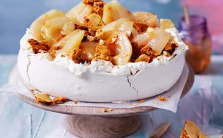 Brown sugar pavlova with moscato poached pears and honeycomb
