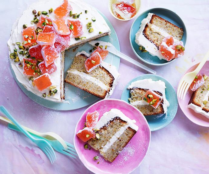 "This [beautiful celebration cake](https://www.womensweeklyfood.com.au/recipes/pistachio-and-rosewater-layer-cake-3649|target=""_blank"") makes the most of delicious Middle Eastern flavours of pistachio and rosewater, and is piled high with tender Turkish delight pieces."