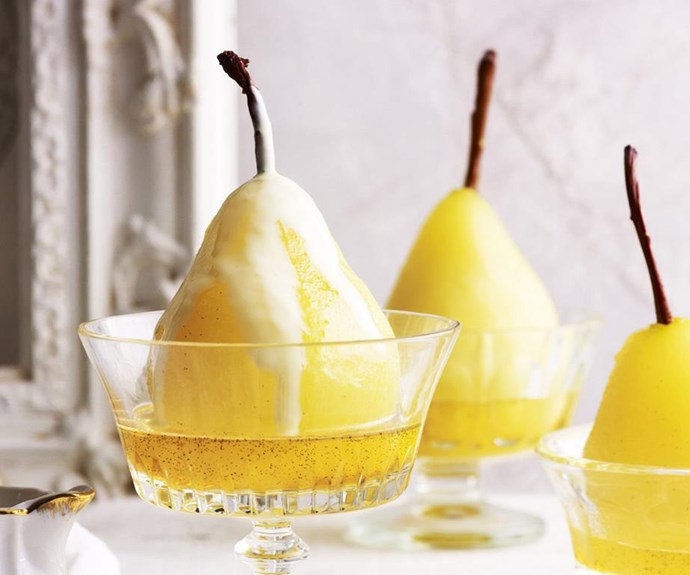 Passionfruit poached pears