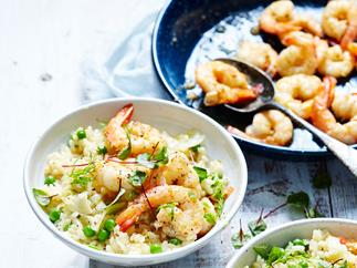 Fennel, lemon, pea & prawn risotto recipe