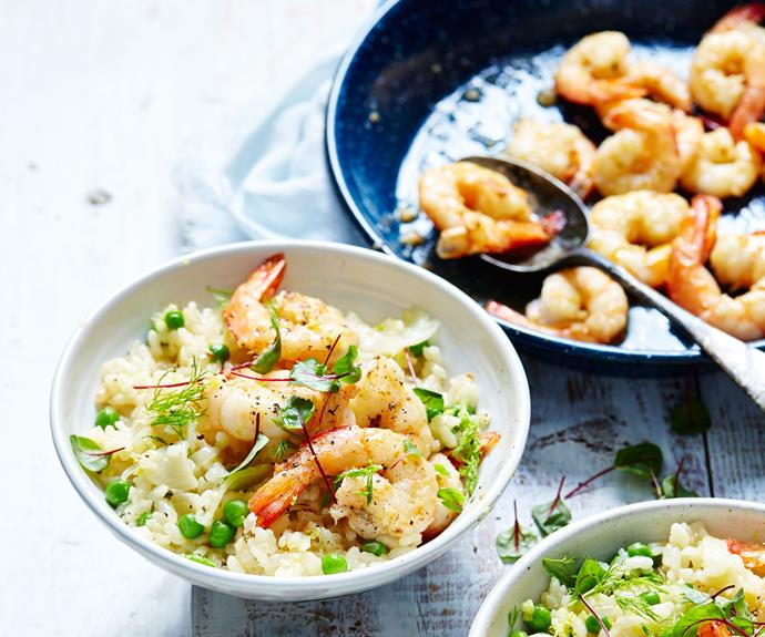 """**[Prawn risotto with fennel and pea](https://www.womensweeklyfood.com.au/recipes/prawn-and-pea-risotto-8122