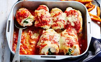 spinach and ricotta-stuffed chicken parmigiana