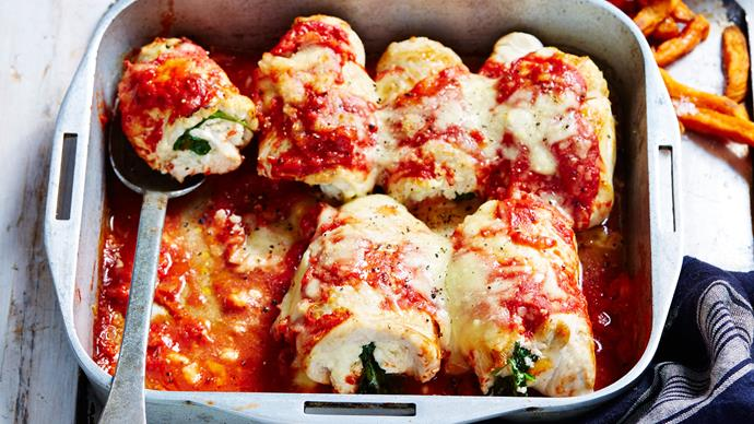 spinach and ricotta-stuffed chicken parmigiana
