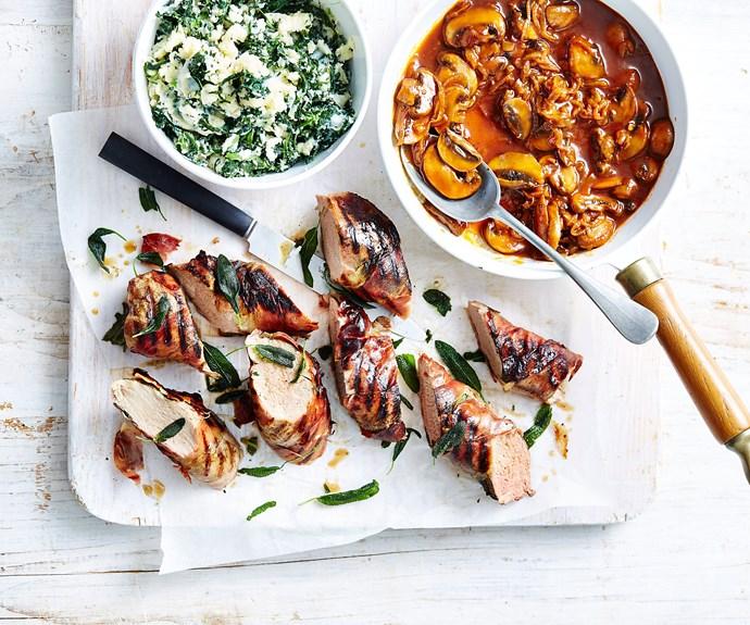Pork fillet mignon with mushroom sauce