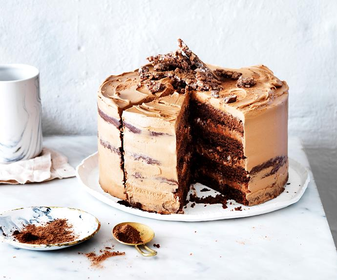 Triple-chocolate crackle crunch cake