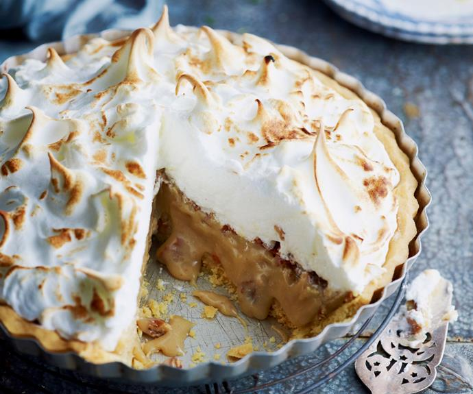 "Sweet, soft and rich, this [caramel meringue pie](https://www.womensweeklyfood.com.au/recipes/caramel-meringue-pie-13051|target=""_blank"") is the perfect comfort food dessert."