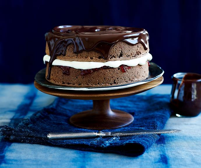 "This [chocolate sponge cake recipe](https://www.womensweeklyfood.com.au/recipes/chocolate-sponge-17745|target=""_blank"") is a delicious chocolatey spin on the classic Victoria sponge, filled with cream and jam and drizzled with ganache."