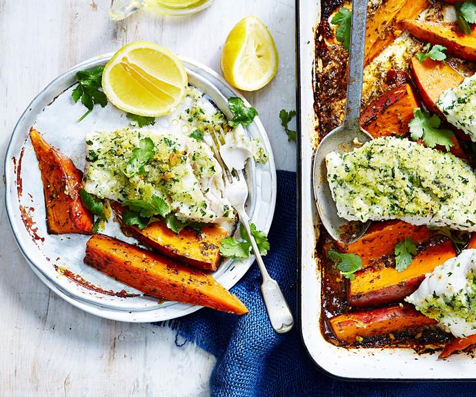 "**[Moroccan fish and chips](https://www.womensweeklyfood.com.au/recipes/moroccan-fish-and-chips-recipe-31008|target=""_blank"")**  Our healthy take on traditional fish and chips is the perfect midweek dinner"