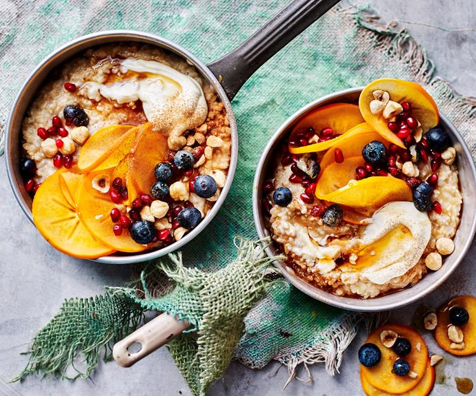"**[Three-grain maple syrup porridge](https://www.womensweeklyfood.com.au/recipes/maple-syrup-porridge-recipe-31033|target=""_blank"")**  This warming porridge uses brown rice, pearl barley and steel cut oats to create a high-fibre and deliciously-textured breakfast. Pomegranate, permission and blueberries add a sweet touch."
